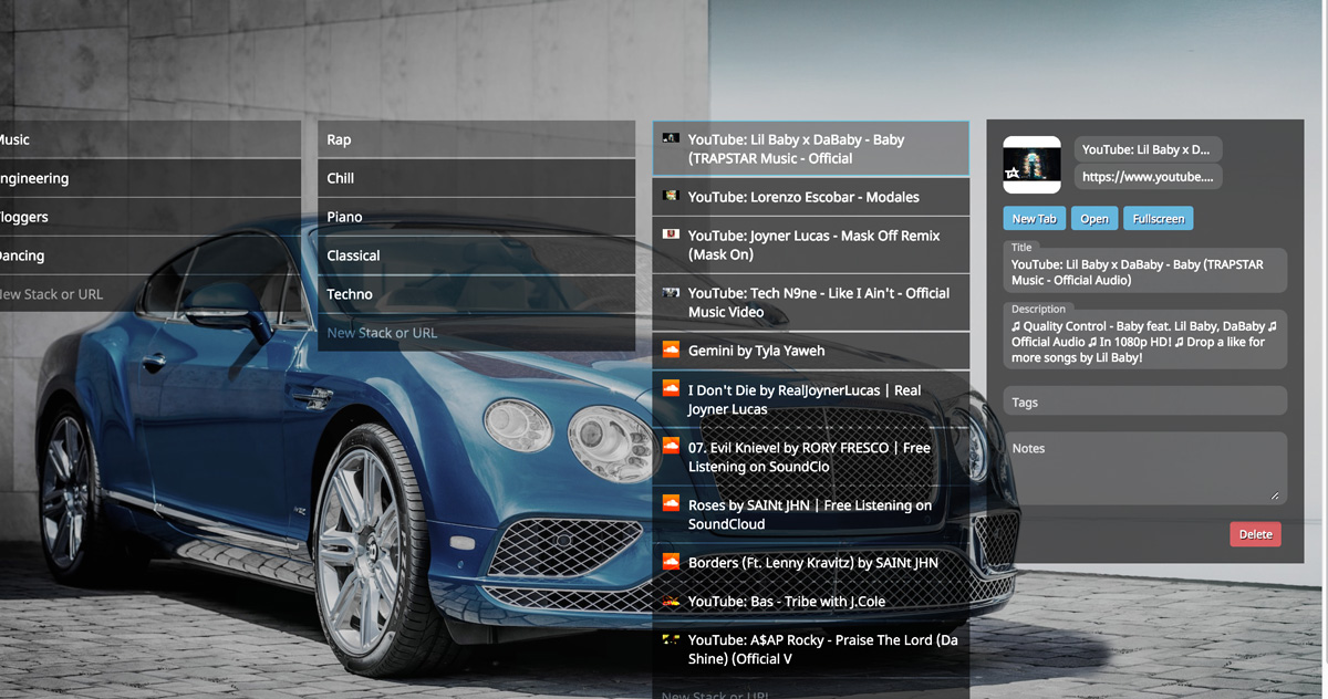 The WebCull bookmark manager open with the some menu open and a nice car background image from Unsplash