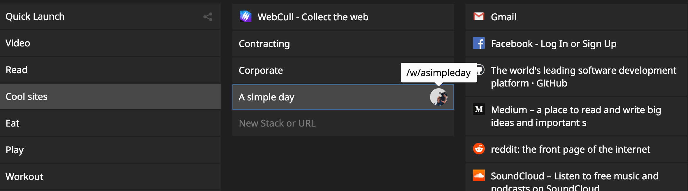 An example of how you can add a WebFeed to your bookmark manager and it opens up just like a stack.