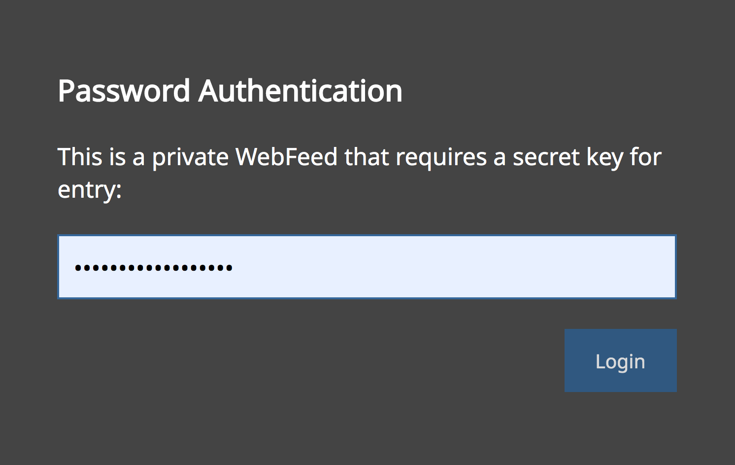 The password protection dialog that the WebFeed visitor would see it is password protected